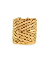 Givenchy - Metallic Wide Golden Flat-Chain Ring - Lyst