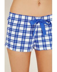 Forever 21 | Blue Plaid Cotton Pj Shorts | Lyst