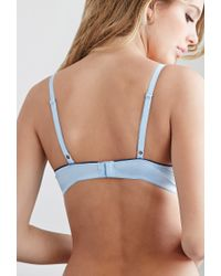 Forever 21 - Blue Lace-trimmed Light Push-up Bra - Lyst