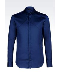 Emporio Armani - Blue Cotton Shirt for Men - Lyst
