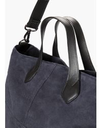 Mango | Blue Suede Shopper Bag | Lyst