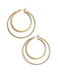 Trina Turk - Metallic Medium Double Hoop Earrings - Lyst