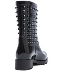 Valentino | Black Rockstud Rainboots | Lyst