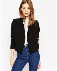 ASOS | Black Cropped Double Breasted Blazer | Lyst
