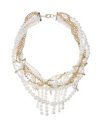 "Sam Edelman - White Faux Pearl and Chain Statement Necklace, 16"" - Lyst"