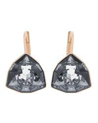 Swarovski | Black Brief Rose Goldtone And Silver Night Crystal Drop Earrings | Lyst
