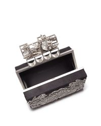 Alexander McQueen - Black Embellished Satin Knuckle Box Clutch - Lyst