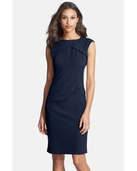 Adrianna Papell - Blue Pleated Crepe Dress - Lyst