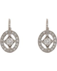 Cathy Waterman - White Oval Frame Drop Earrings - Lyst