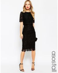ASOS | Black Lace Crop Top Midi Pencil Dress | Lyst