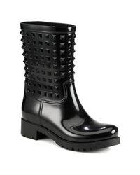 Valentino | Black Rockstud Patent Rainboots | Lyst
