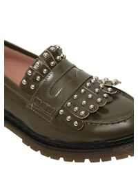 RED Valentino - Natural 20mm Studded Fringed Leather Loafers - Lyst