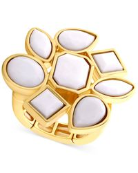 T Tahari | Metallic Gold-tone White Stone Cluster Stretch Ring | Lyst