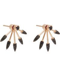 Pamela Love - Black Diamond Rose Gold Five Spike Earrings - Lyst