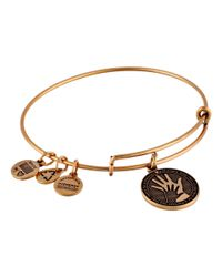 ALEX AND ANI | Metallic Hand In Hand Charm Bangle | Lyst