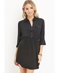 Forever 21 | Black Buttoned-pocket Shirt Dress | Lyst