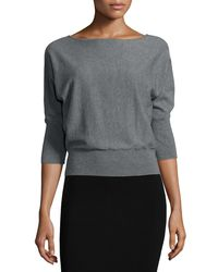 MILLY | Gray 3/4-dolman-sleeve Pullover Top | Lyst