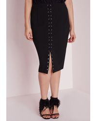 Missguided - Plus Size Lace Up Midi Skirt Black - Lyst