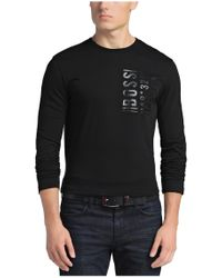 BOSS Green | Black Regular-fit Long-sleeved Shirt: 'togn 2' With A Round Neckline for Men | Lyst