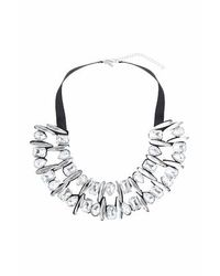 TOPSHOP - White Mixed Stone Necklace - Lyst
