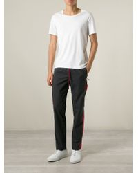 Dolce & Gabbana - Gray Piped Track Pants for Men - Lyst