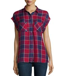 Rails - Red Britt Cap-sleeve Woven Plaid Shirt - Lyst