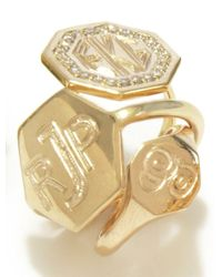 Emily & Ashley | Metallic Octagon Signet Ring | Lyst