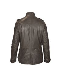 FORZIERI - Brown Washed Leather Car Coat W/ Quilted Lining for Men - Lyst