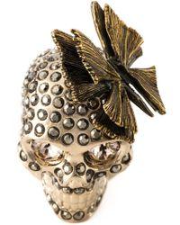 Alexander McQueen - Metallic Butterfly Skull Ring - Lyst