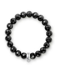 Thomas Sabo | Charm Club Black Obsidian Stone Bracelet | Lyst