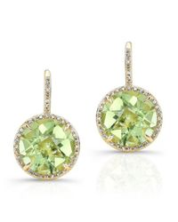 Anne Sisteron | 14kt Yellow Gold Green Amethyst Diamond Round Earrings | Lyst