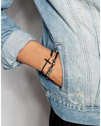 ASOS | Rope Bracelet Pack With Cross And Skulls In Black for Men | Lyst