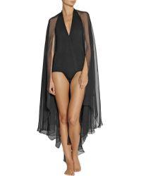 Donna Karan   Black Silk Chiffon-trimmed Jersey Bodysuit   Lyst
