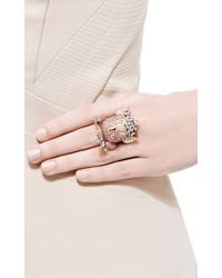 Lydia Courteille | 18k Pink Gold Animal Farm Ring with Multi-colored Diamonds and Pink Sapphires | Lyst