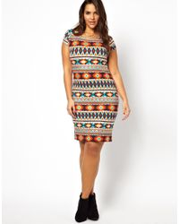 AX Paris | Gray Curve Aztec Midi Dress | Lyst