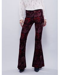 Free People | Purple Womens Maura Printed Velvet Flare | Lyst