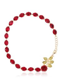 Dolce & Gabbana | Red Swarovski Crystal Rose Necklace | Lyst