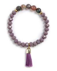 Panacea - Stone & Tassel Bracelet - Purple - Lyst