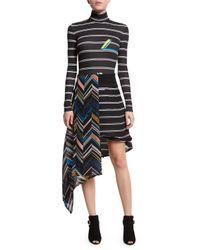 Preen By Thornton Bregazzi - Black Asymmetric Half & Half Striped Skirt - Lyst