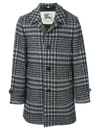 Burberry - Black Single Breasted Checked Coat - Lyst