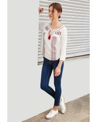 Forever 21 | Multicolor Embroidered Gauze Peasant Top | Lyst