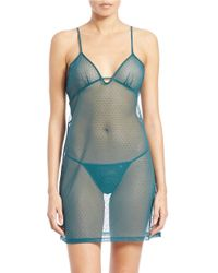 Joe's Jeans | Blue Sheer Chemise And Thong Set | Lyst