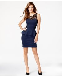 Kensie | Blue Sleeveless Lace-inset Peplum Dress | Lyst