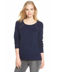 Caslon | Blue Zip Detail Elliptical Hem Sweater | Lyst