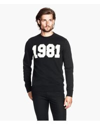 H&M - Black Sweatshirt With A Print for Men - Lyst