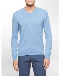 Calvin Klein - Blue White Label Merino Wool V-neck Sweater for Men - Lyst