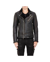 Balmain - Black Shearling-lined Moto Jacket for Men - Lyst