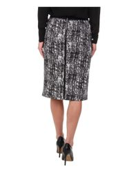Vince Camuto - Black Texture Etching Pencil Skirt W/ White Trim - Lyst