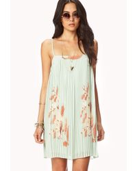 Forever 21 - Green Pleated Lily Swing Dress - Lyst