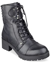 G by Guess | Black Meara Lace-up Moto Booties | Lyst